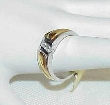 14k Men's .25Ct 3 Diamond Wed Band Ring White & Yellow Gold Sz 10.75 New w/Tag