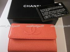 Auth CHANEL 13P Peach Pink Cavier Leather Card Coin Purse Wallet NEW