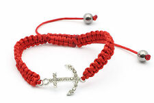 Adjustable Thread Red Braided Bracelet with an Anchor Design with Gems