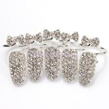 5pcs Fashion Charm Rhinestone Bowknot Nails Finger Tips Ring Jewelry Silver