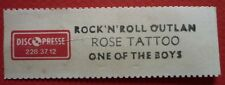 ROSE TATOO - ROCK'N'ROLL OUTLAW  -  1 X JUKEBOX TITLE STRIP FRENCH ETIQUETTE