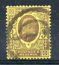 GB = 1902 onwards E7 3d Pale Purple on Lemon. SG 232-234. Used. (b)