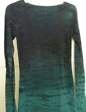 HARD TAIL Womens Miss Top (S) L/S LONG SKINNY Tee NWT Scoop Neck Forest Green