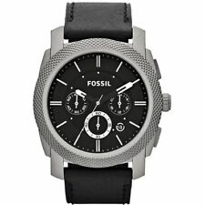 Fossil Machine Titanium Black Leather Mens Watch TI1003 NEW! Low Inter Shipping