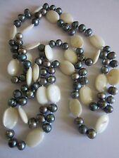 Bijou Vintage Long Collier Sautoir Perles Keshi Eau Douce et Nacres Blanches