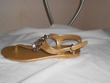 "Coach Gold Jelly Thong Sandal ""Hilda"" w/Decorative Detail   8"