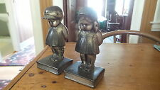 Antique BOOKENDS, Metal INSOLENT BOY & GIRL STANDING ON A BOOK 1920's-30's