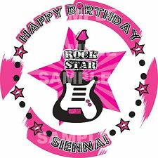 ROCK STAR PINK PARTY Edible Cake Topper Image Round Frosting Sheet PERSONALIZED!