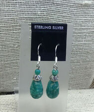 Sterling Earrings Faceted Russian Amazonite Gemstone Pierced Drop
