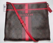 NWT Coach PVC Coated Signature Varsity Stripe File Bag Crossbody F38402  $230
