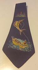 Vintage Hand Painted Tropical Fishing Necktie Tie Palm Island Of Miami