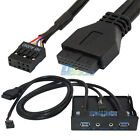 "3.5"" 20Pin to 2 USB 3.0 Port HUB + HD Audio PC Floppy Drive Bay Front Panel Rack"