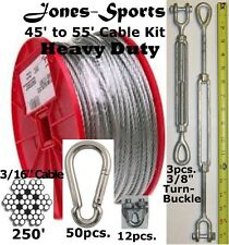 Heavy Duty 55' Indoor/Outdoor Cable Kit for Baseball Softball Batting Cage Net