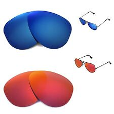 WL Polarized Fire Red+Ice Blue Lenses 4 Ray-Ban Aviator RB3044 Small Metal 52mm