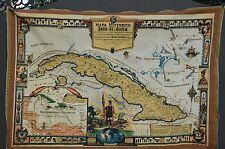 "CUBA Havana Map Mapa Old Historic Tapestry 44""X30"" Poster Photo Picture"
