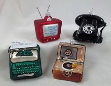 Early Years Television Set, Record Player, Telephone & Typewriter Glass Ornament