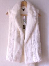 NEW~$69~Ivory White Fur VEST Sweater Cable Knit Top~4/6/2/S/Small