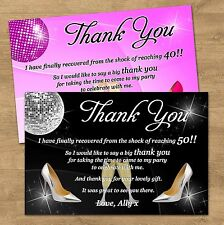 10 Personalised Birthday Thank You Cards Black Or Pink 30th 40th 50th 60th 65th