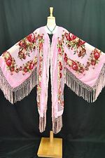 Art to Baby Pink Flower Burnout Velvet Fringe Kimono Coat Duster Jacket Long