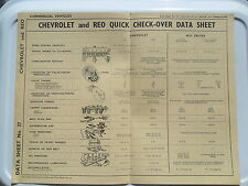 CHEVROLET FLEETMASTER SPEEDMASTER REO SPEEDWAGON ORIGINAL DATA SHEET 1939 - 1947