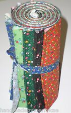 "Calico Floral Dessert Roll Cotton Fabric Strips 10 pieces 5"" Strips Quilt, Craft"