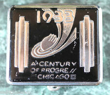 Art Deco 1933 Chicago Centenial Compact with Rouge & Powder.