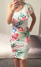 """Rosetta"" White Tropical Floral One Shoulder Bodycon Dress Size L 12/14"