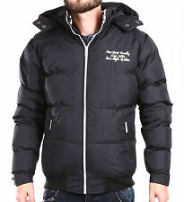 Poolman Men's Winter Jacket black Quilted Jacket Hood Parka SMALL