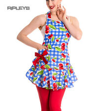 Hell Bunny BLUE Gingham 50s agosto Grembiule pinny CHERRY 8 - 16