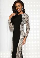 Jovani Sexy Black Long Sleeve Illusion Prom Evening Party Dress Size 0 NWT