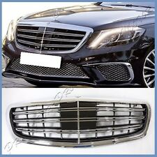 For W222 Sedan BENZ 14 On S350 S550 Maybach Double Bar 3 Fins Front Hood Grille