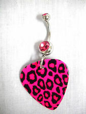 NEW HOT PINK LEOPARD JUNGLE CAT PRINT GUITAR PICK w PINK CZ BELLY BAR NAVEL RING