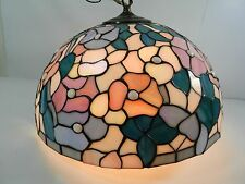 """Tiffany Style Floral Stained Glass Hanging Fixture 16"""" Lamp/Light Shade"""