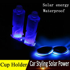 Solar Energy Cup Holder Bottom Pad LED Light Cover Mouldings Trim For Car Truck!