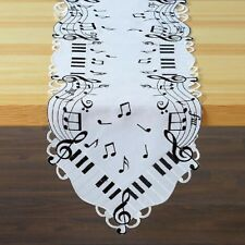 Deluxe MUSIC NOTES Table Runner Doily 72 x 13 Embroidered Machine Wash NEW