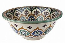 Essouira Ceramic Hand painted Moroccan Bathroom Sink Basin ,Painted in/out