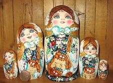 Russian nesting doll GOLD HAND PAINTED Pyrography MATT Babushka 5 CATS MAMAYEVA