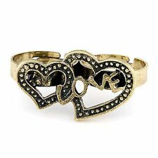 Adjustable vintage retro bronze hearts and love double finger ring
