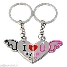 I Love You Angel Wings Couple Key Chain Ring Silver Lover Gift Keyfob Split
