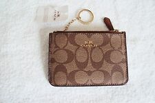 NWT COACH Khaki Saddle Leather Key Pouch/Coin Purse/Wallet F63923 Retail $65