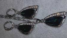 Elegante 925 Sterling Silber Grun Australian Kristall Anhänger Halskett Ohringe
