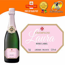 PERSONALISED PINK CHAMPAGNE BOTTLE LABEL BIRTHDAY ANY OCCASION GIFT