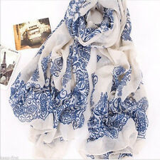 Style New Women's Long Voile blue & beige Scarf Wraps Shawl Stole Soft Scarves