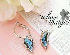 Elegant Girls Shiny Rhinestone alloy Blue Butterfly Earrings