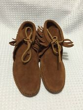 MINNETONKA MOCCASINS MENS 882 Size 7 Brown Suede Fringed Softsole Ankle Boot