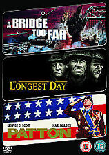 A BRIDGE TOO FAR - THE LONGEST DAY - PATTON - 3 SUPER WAR FILMS on 3 DVD'S