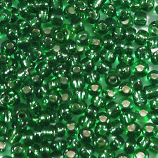 rocaille glass seed beads 2mm Hole Silver Green 20g (12/0)