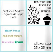 White Return Address Labels Personalised SQUARE Stickers Seals customised x 100