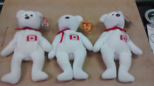 ^ Vintage lot of 3 RARE Ty Maple Bear Beanie Babies Mint with Mint Tags