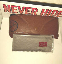 New Ray-Ban Sunglass Snap Soft Leather Case & Cloth, Color: Brown